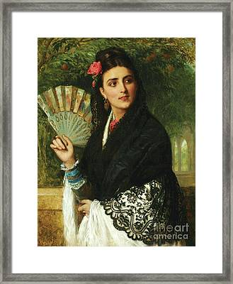 Spanish Lady With Fan Framed Print by Pg Reproductions