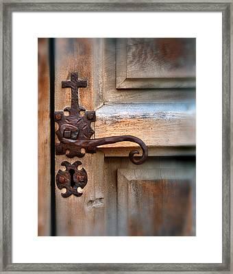 Spanish Mission Door Handle Framed Print by Jill Battaglia