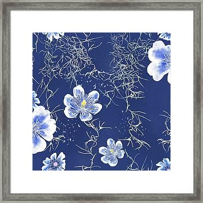 Indigo Batik Tile 4 - Spanish Moss Framed Print