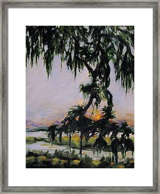 Spanish Moss Sunset Framed Print