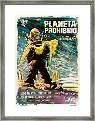 Spanish Version Of Forbidden Planet In Cinemascope Retro Classic Movie Poster Framed Print