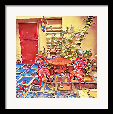 Patio Table And Chairs Mixed Media Framed Prints