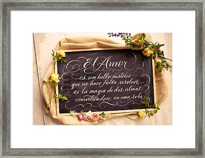 Spanish Words About Love Written Framed Print by Gillham Studios