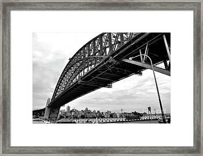 Spanning Sydney Harbour - Black And White Framed Print by Kaye Menner
