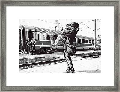 Sparkle At The Train Station - Ballpoint Pen Art Framed Print