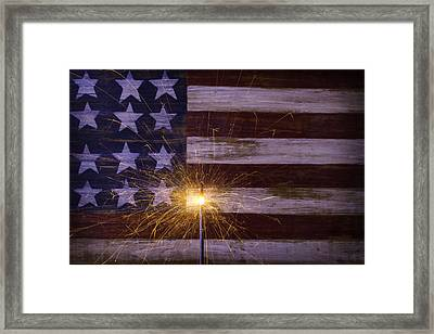 Sparkler With American Flag Framed Print by Garry Gay