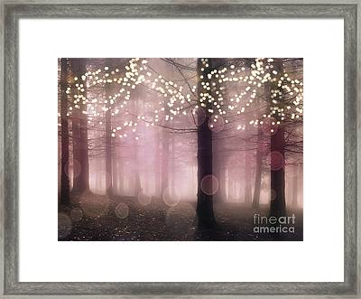 Sparkling Fantasy Fairytale Trees Nature Pink Woodlands - Sparkling Lights Bokeh Fantasy Trees Framed Print by Kathy Fornal