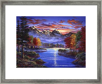 Sparkling Lake Framed Print by David Lloyd Glover