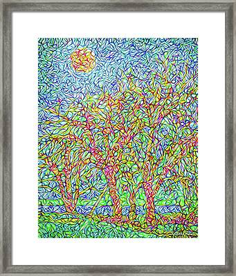 Framed Print featuring the digital art Sparkling Lakeside Trees - Park In Boulder County Colorado by Joel Bruce Wallach