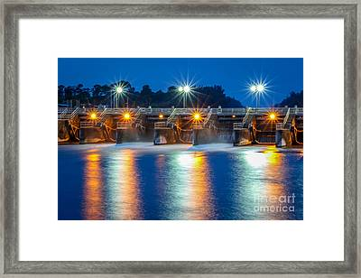 Sparkling Lights At Dam #1 Framed Print by Tom Claud