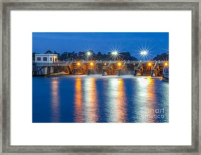 Sparkling Lights At Dam #2 Framed Print by Tom Claud