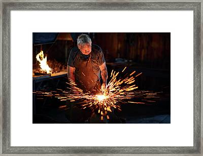 Sparks When Blacksmith Hit Hot Iron Framed Print