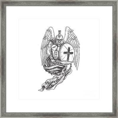 Spartan Warrior Angel Shield Rosary Tattoo Framed Print by Aloysius Patrimonio
