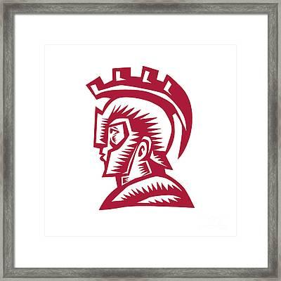 Spartan Warrior Helmet Woodcut Framed Print