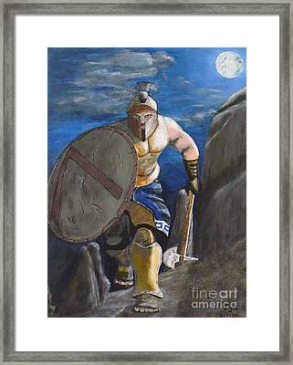 Framed Print featuring the painting Spartan Warrior One Of The Three Hundred At Night by Eric Kempson