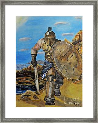 Framed Print featuring the painting Spartan Warrior One Of The Three Hundred by Eric Kempson