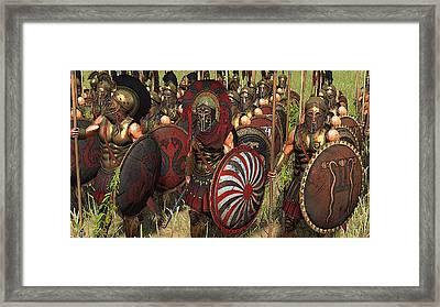 Spartan Warriors Before The Battle Framed Print