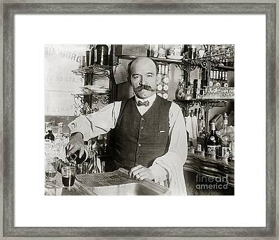 Speakeasy Bartender Framed Print by Jon Neidert