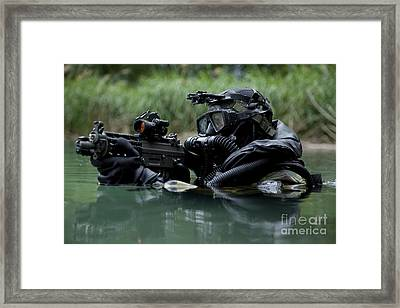 Special Forces Combat Diver Takes Framed Print by Tom Weber