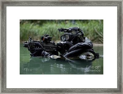 Special Forces Combat Diver Takes Framed Print by Tom Weber