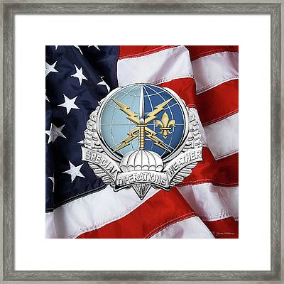 Special Operations Weather Team -  S O W T  Badge Over American Flag Framed Print by Serge Averbukh