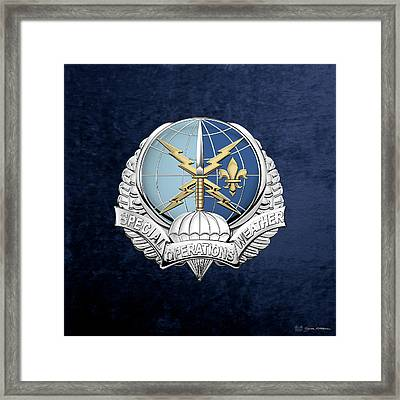 Special Operations Weather Team -  S O W T  Badge Over Blue Velvet Framed Print by Serge Averbukh