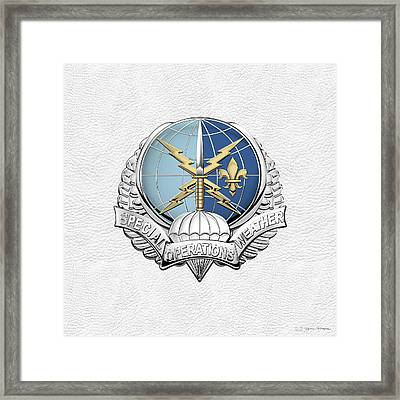 Special Operations Weather Team -  S O W T  Badge Over White Leather Framed Print by Serge Averbukh