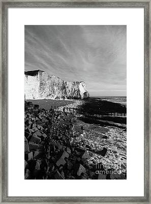 Spectacular Cliffs At Seaford Head Sussex England Framed Print