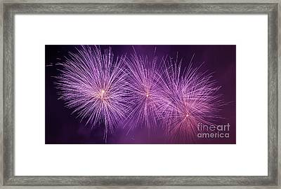 Spectacular Fireworks Show Light Up The Sky. New Year Celebration. Panorama Framed Print