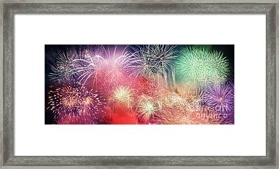 Spectacular Fireworks Show Light Up The Sky. New Year Framed Print