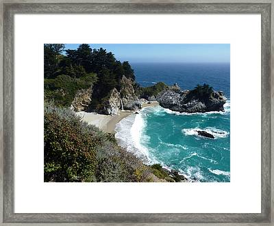Spectacular Mcway Falls In Julia Pfeiffer Burns State Park Framed Print by Carla Parris