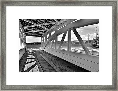 Spectacular View From Osterburg-bowser Covered Bridge Black And White Framed Print by Lisa Wooten