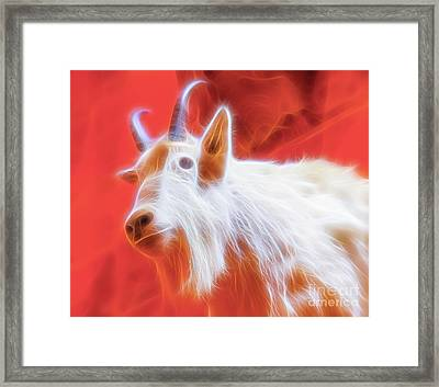 Framed Print featuring the digital art Spectral Mountain Goat by Ray Shiu