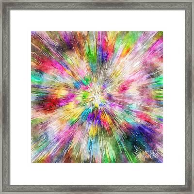 Spectral Tie Dye Starburst Framed Print by Phil Perkins