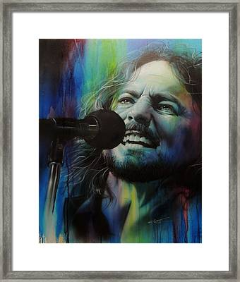 Eddie Vedder - ' Spectrum Of Vedder ' Framed Print by Christian Chapman Art