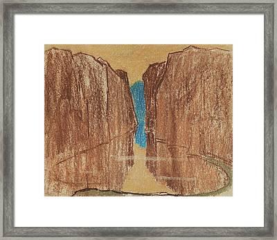 Specular Reservoir Between The Two Desert Cliffs Framed Print