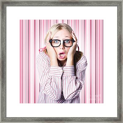Speechless Nerd Covering Ears In Silent Shock Framed Print by Jorgo Photography - Wall Art Gallery