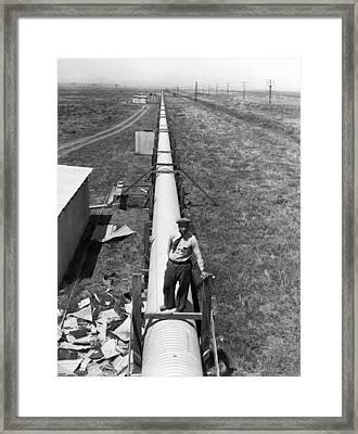 Speed Of Light Tube Framed Print by Underwood Archives