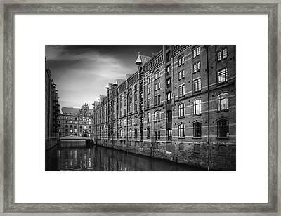 Speicherstadt Hamburg Germany In Black And White Framed Print