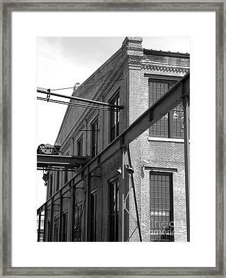 Spencer Shops Crane  B W Framed Print