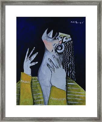 Speramus Woman In Yellow Shirt Thinking About Herself Framed Print