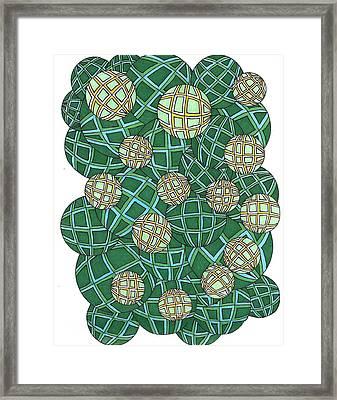 Spheres Cluster Green Framed Print