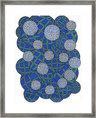 Spheres In Blue Framed Print