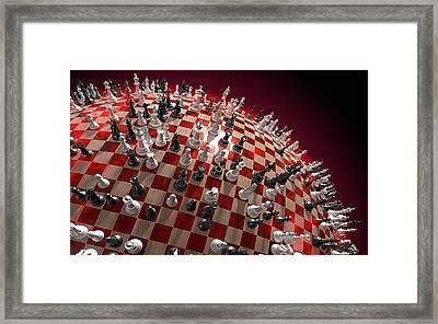 Spherical Chess Board World Framed Print by Jovemini ART