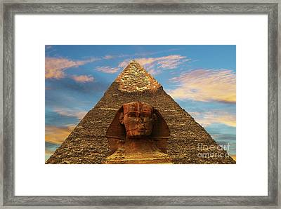 Sphinx And Pyramid Of Khafre Framed Print