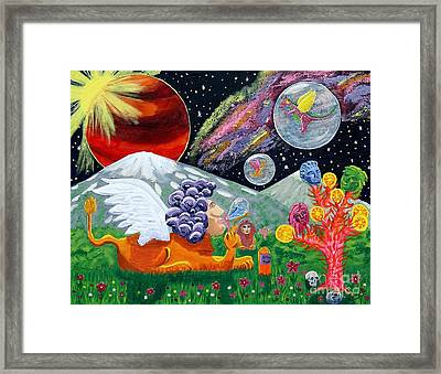 Sphinx Dude's World Framed Print by Vicki Maheu