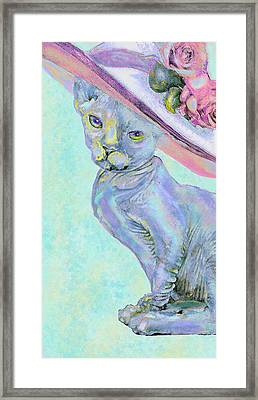Framed Print featuring the digital art Sphinx In Pink Hat by Jane Schnetlage