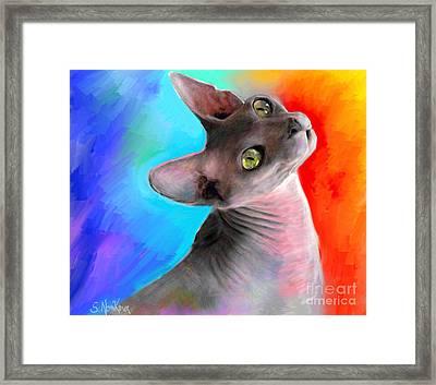 Sphynx Cat Painting Framed Print