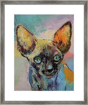 Sphynx Cat Portrait Framed Print by Michael Creese