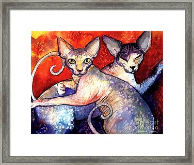 Sphynx Cats Sphinx Family Painting  Framed Print by Svetlana Novikova